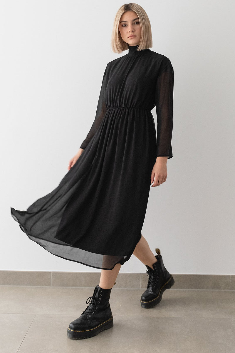 Turtleneck Chiffon Midi Dress