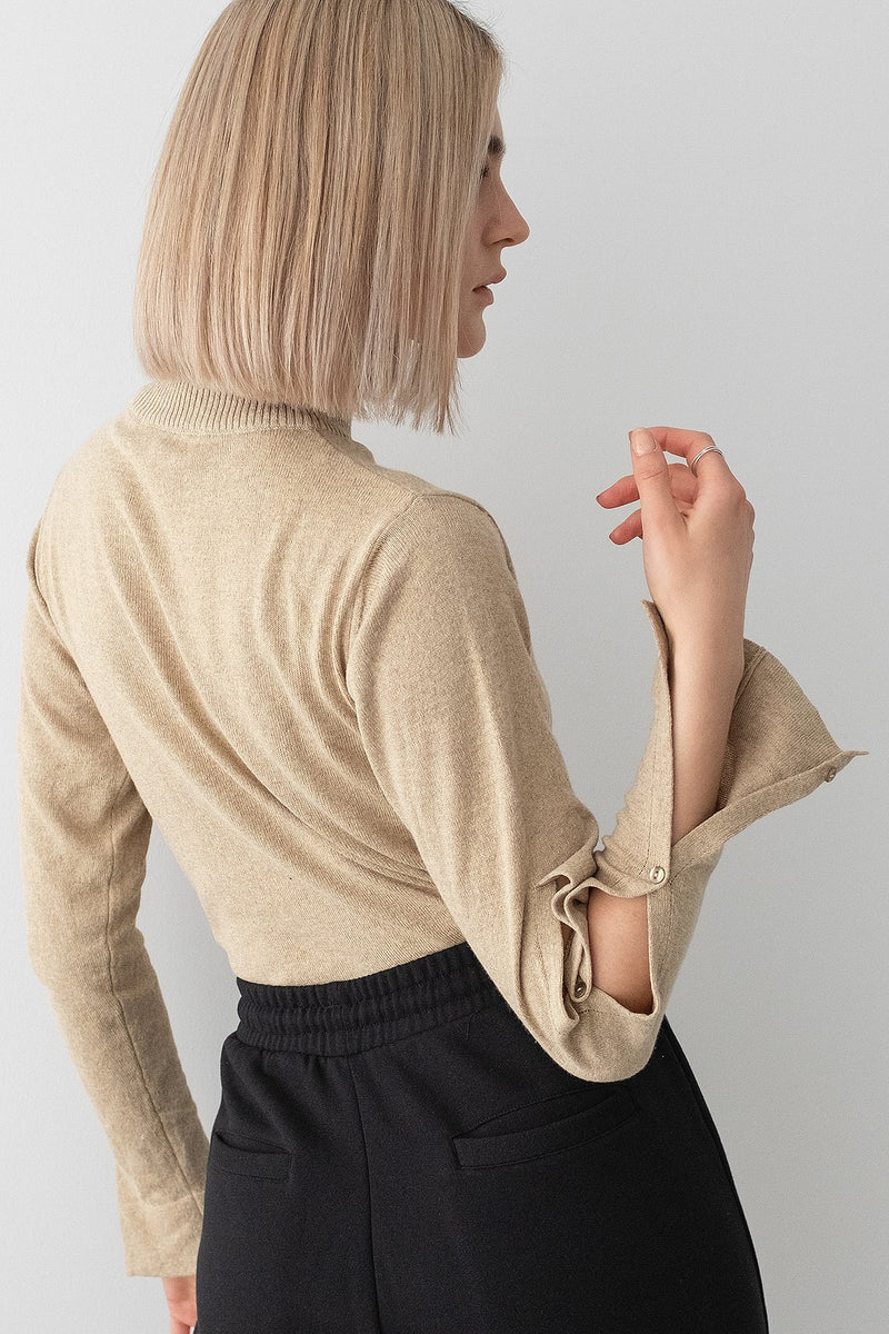 Open Sleeve Turtleneck Sweater