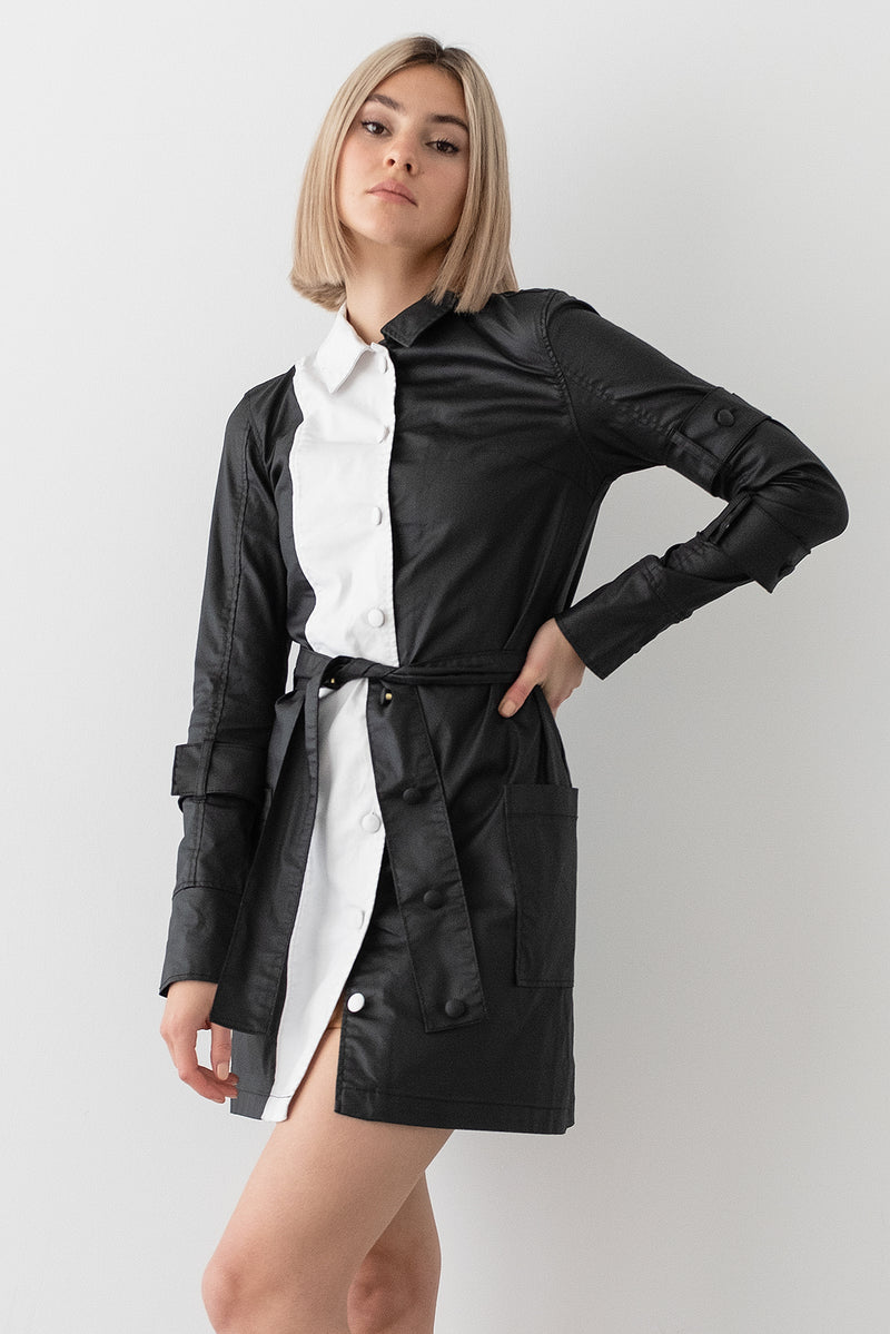 Coated Denim Belted Shirt Dress