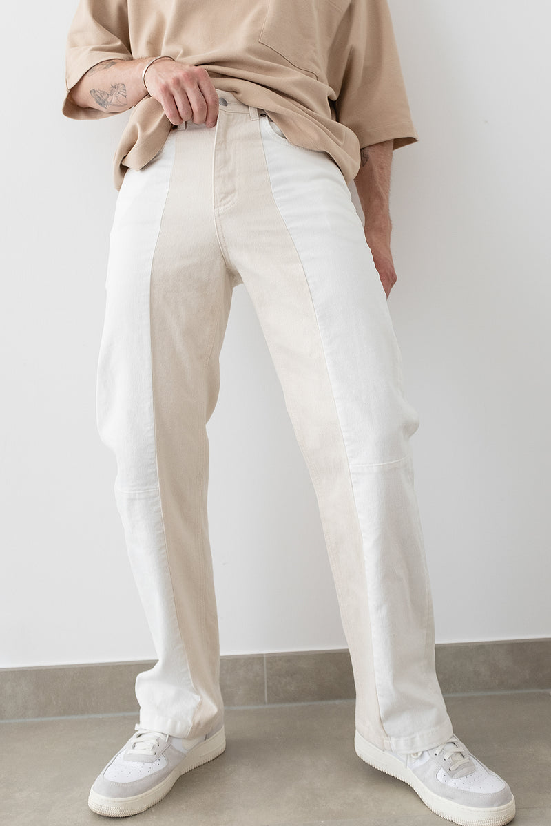 Colour Block Wide Leg Jeans