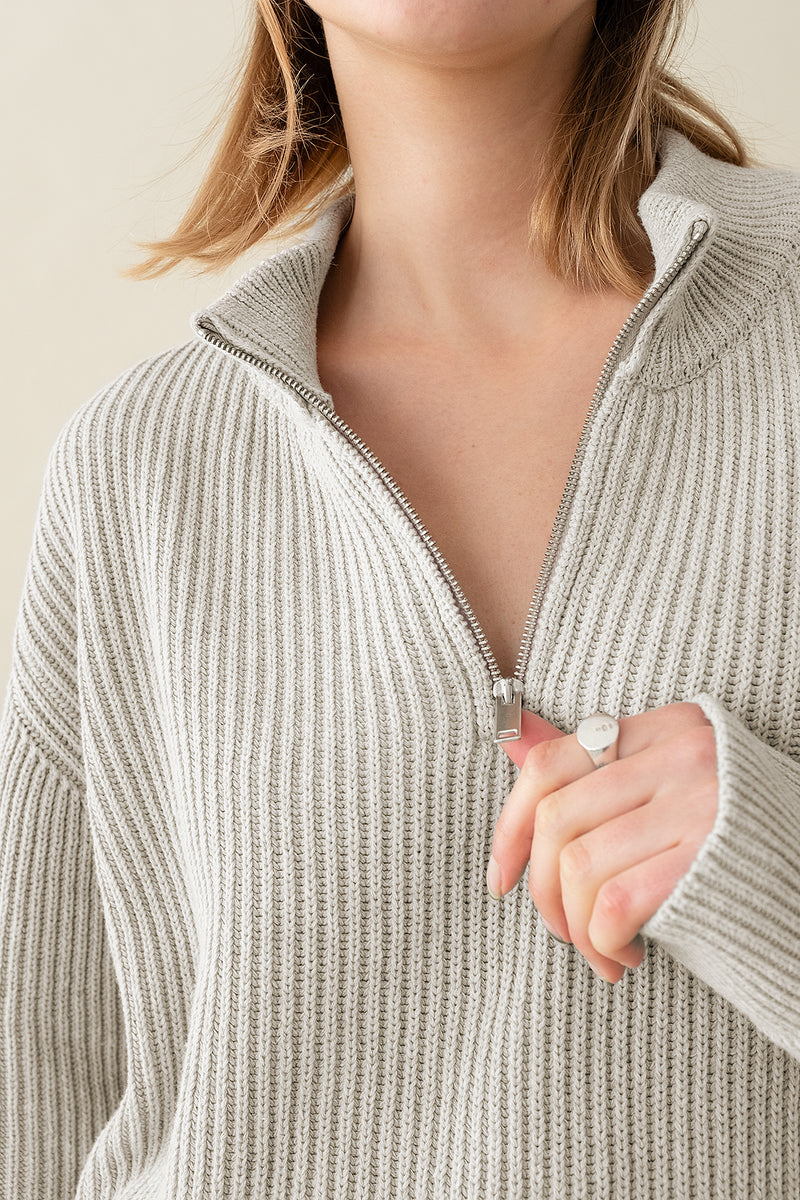 100% Upcycled Blend Funnel Neck Half Zip Ribbed Unisex Jumper