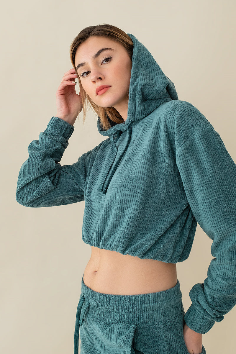 Oversized Cropped Towelling Hoodie