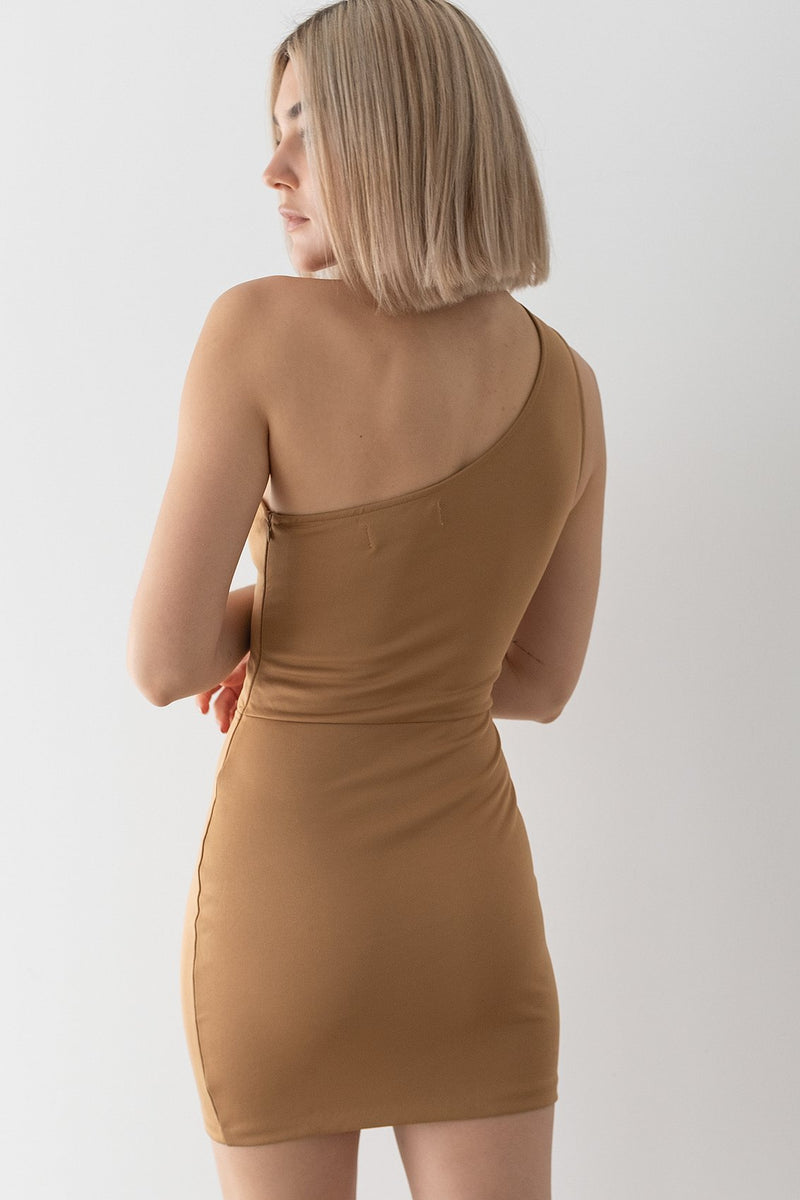 One Shoulder Cut Out Mini Dress