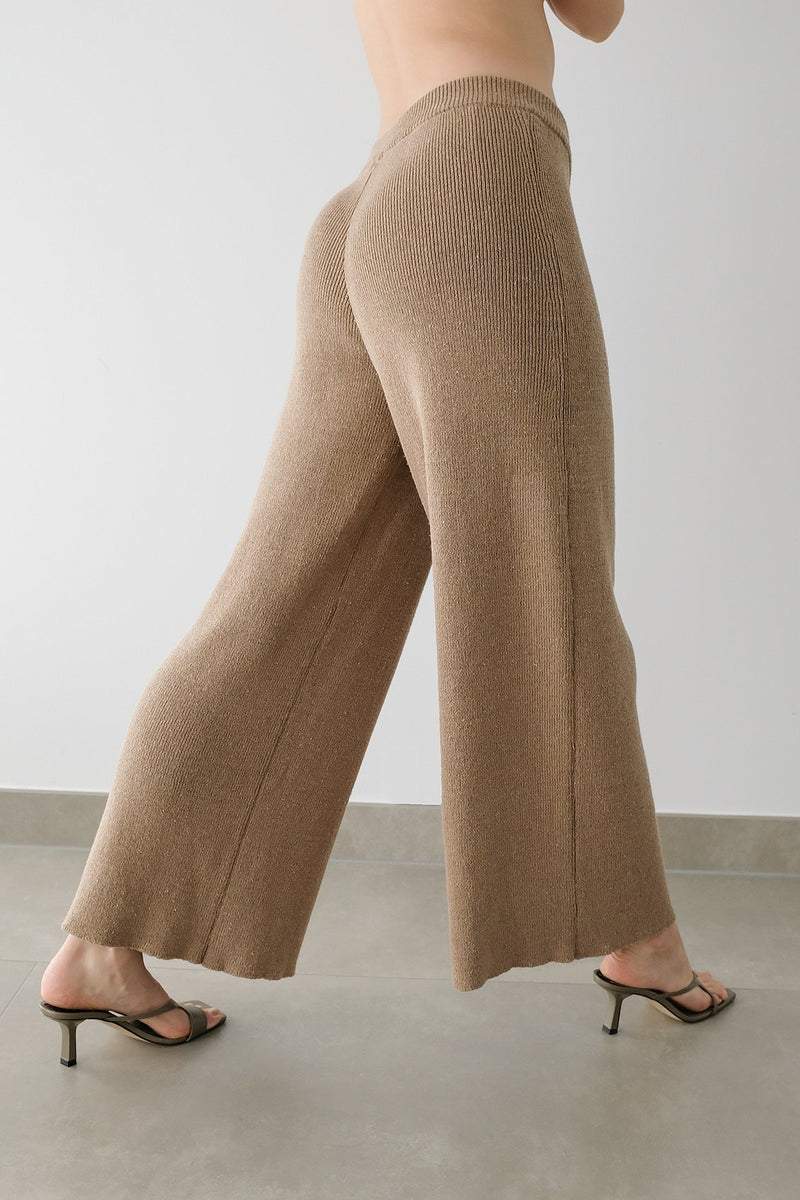 Wide Leg Ribbed Pants