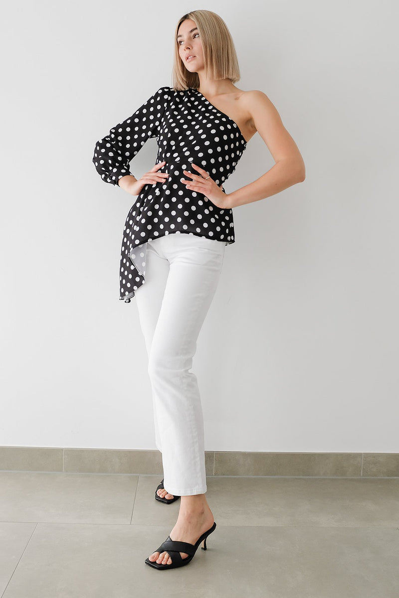 One Shoulder Asymmetric Pleated Polka Dot Blouse