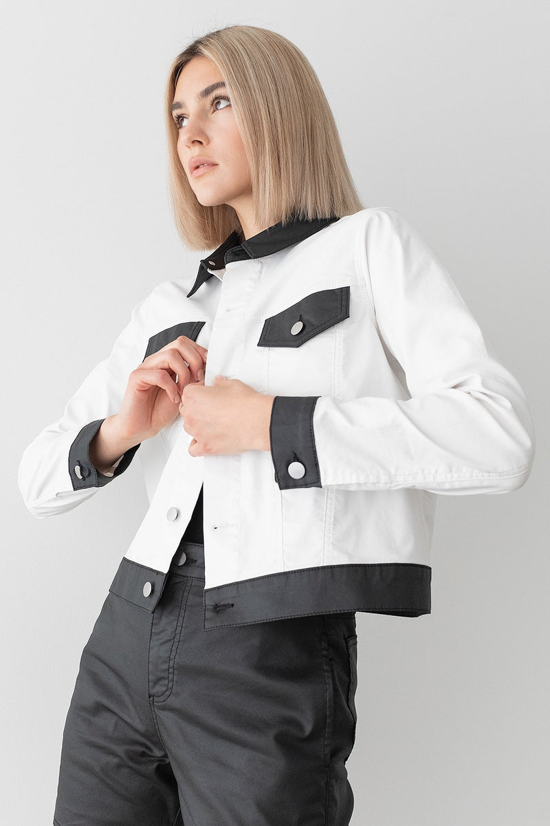 Colour Block Coated Denim Jacket