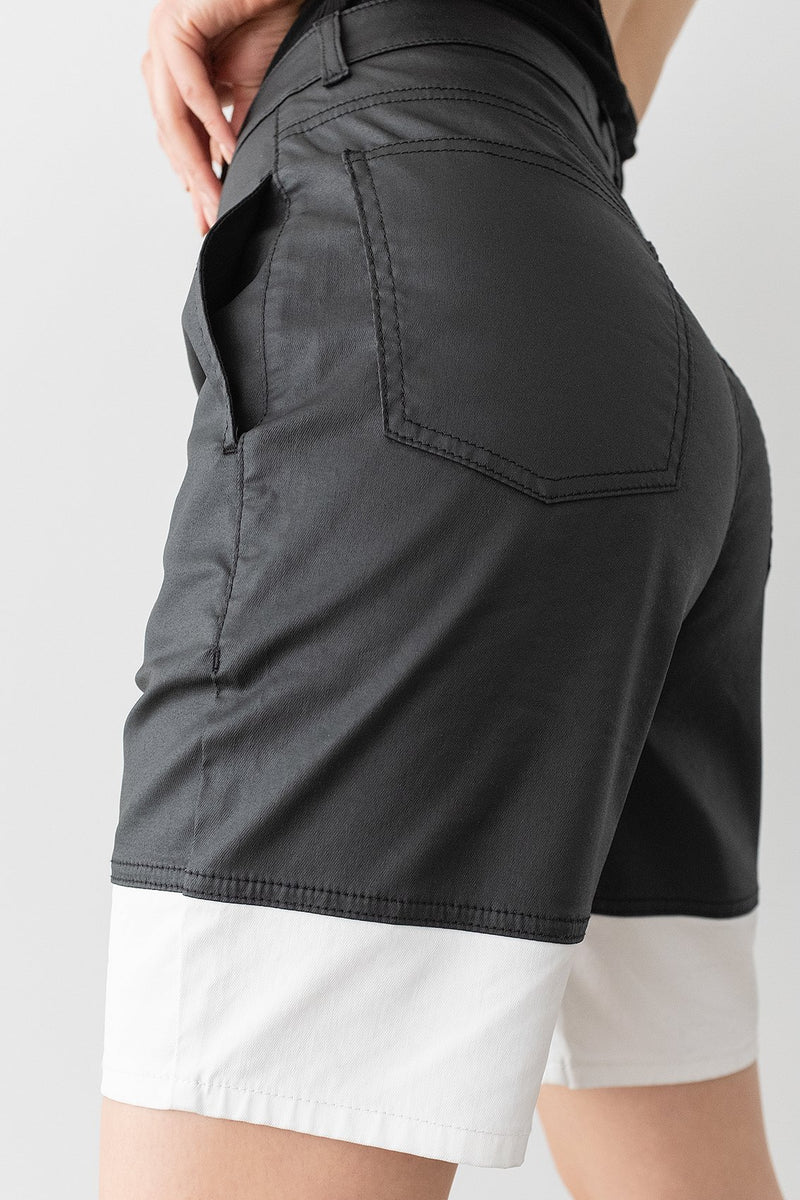 Coated Denim Colour Block Bermuda Shorts