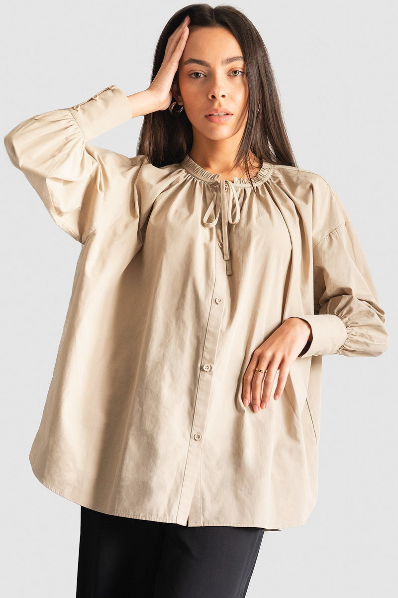 100% Organic Gathered Tie Neck Smock Shirt