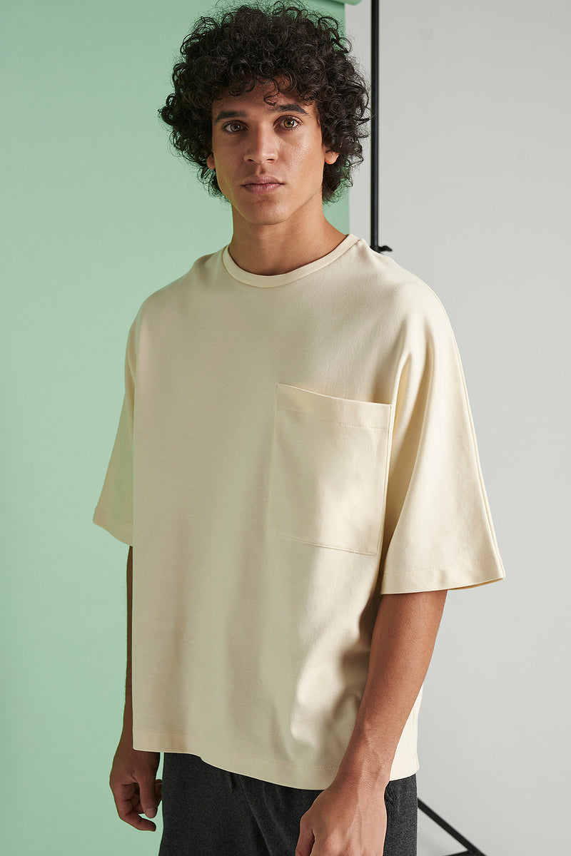 Oversized 3/4-Sleeve Pocket T-shirt
