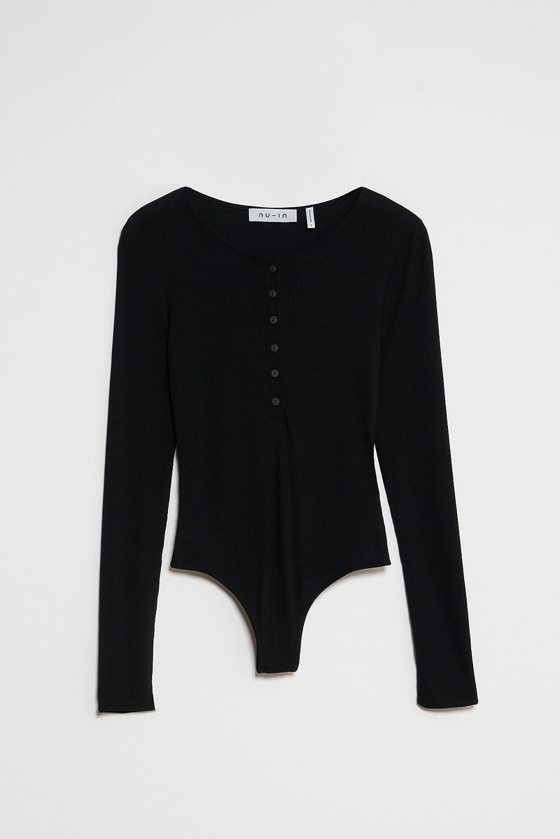 Button Front Rib Bodysuit