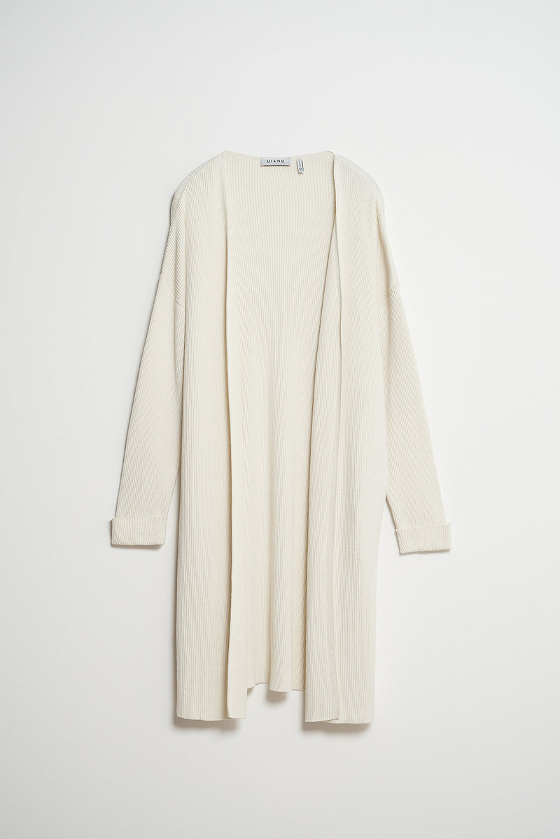 100% Recycled Open Front Ribbed Long Cardigan