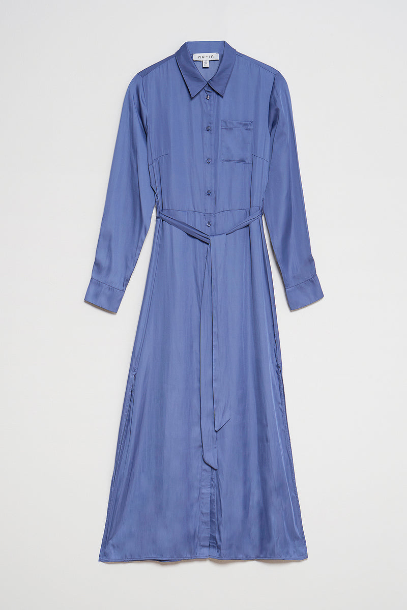 100% Recycled Belted Maxi Shirt Dress