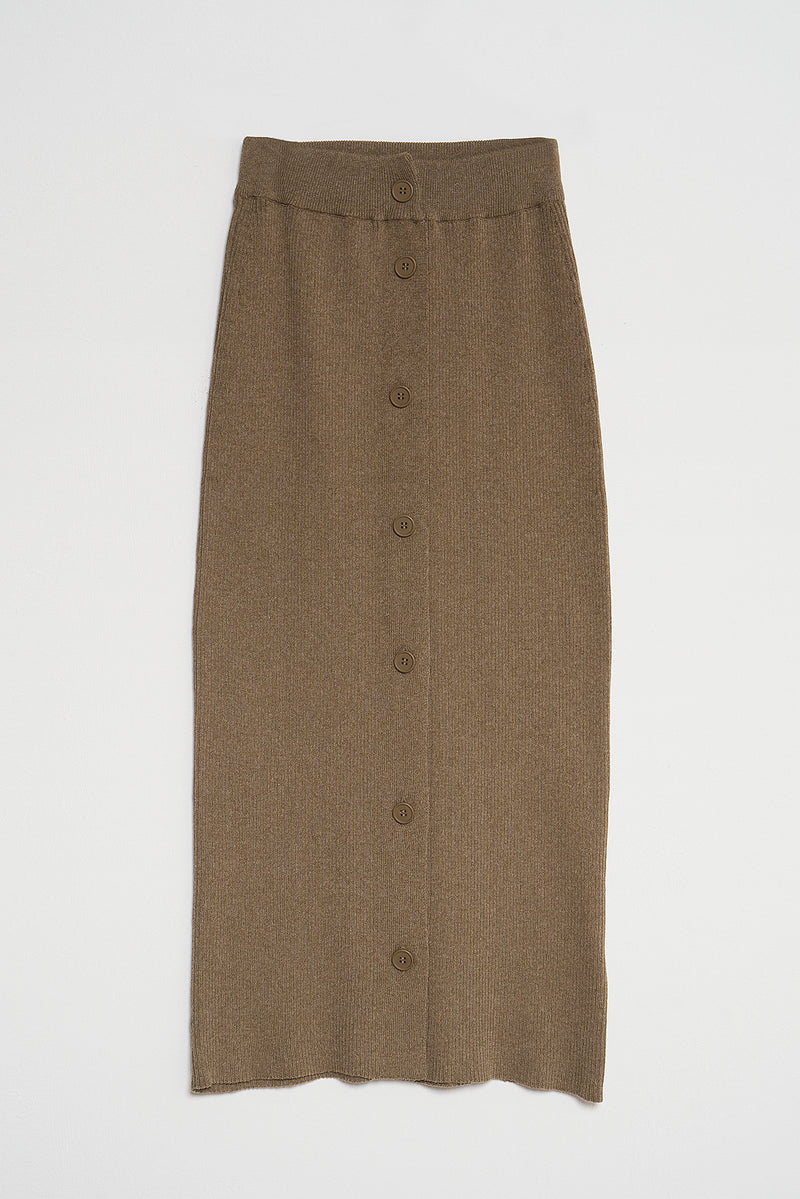 100% Recycled Button Detail Ribbed Knitted Midi Skirt