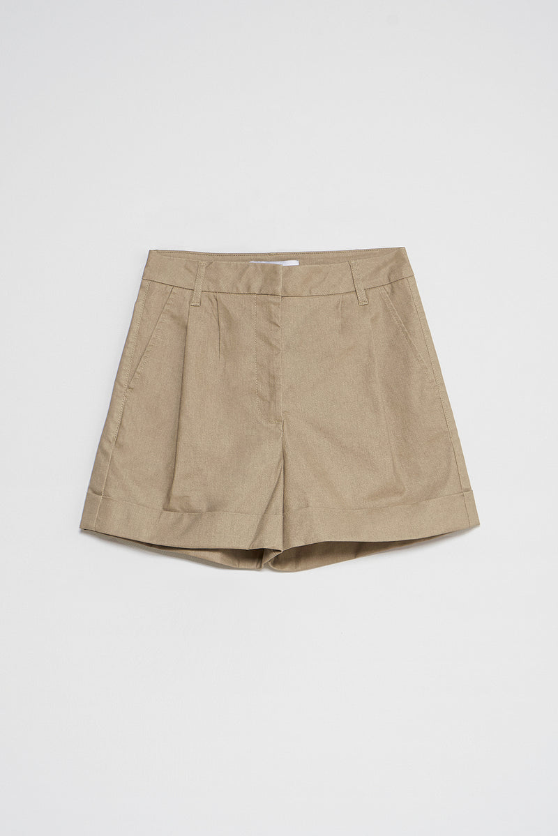 Coated Denim Roll Hem Shorts