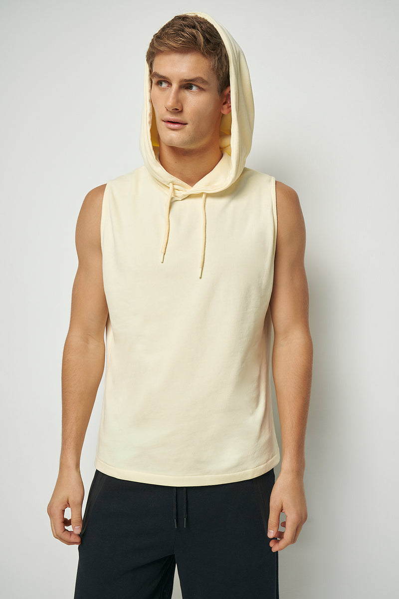 Drop Armhole Sleeveless Slim Fit Hoodie