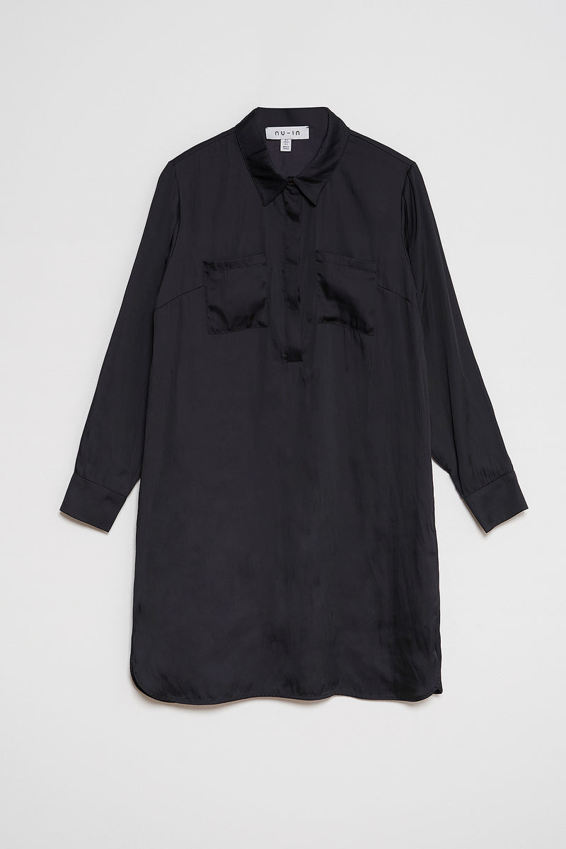 100% Recycled Half Placket Shirt Dress