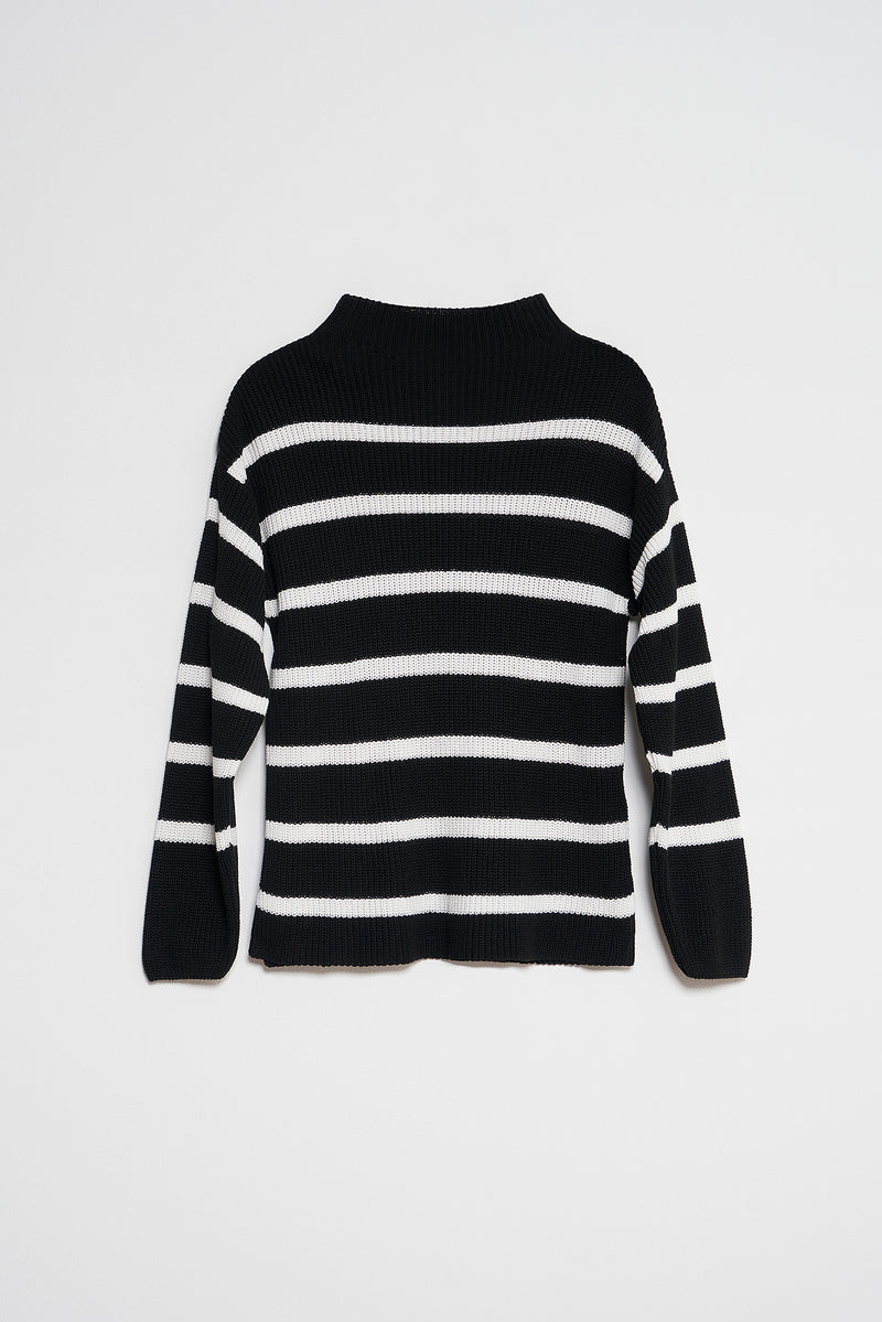 High Neck Striped Knitted Sweater