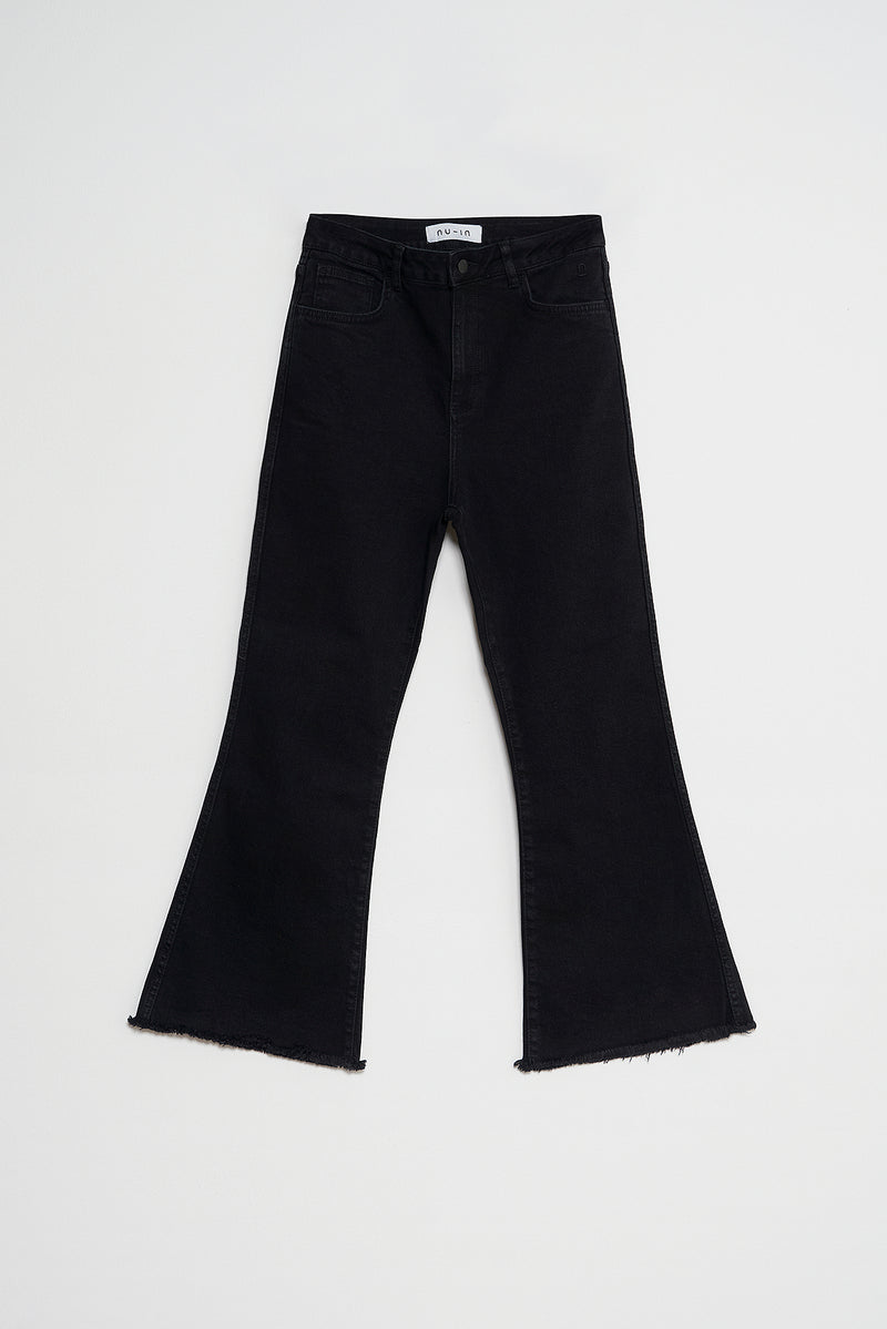 High Rise Raw Hem Flared Jeans