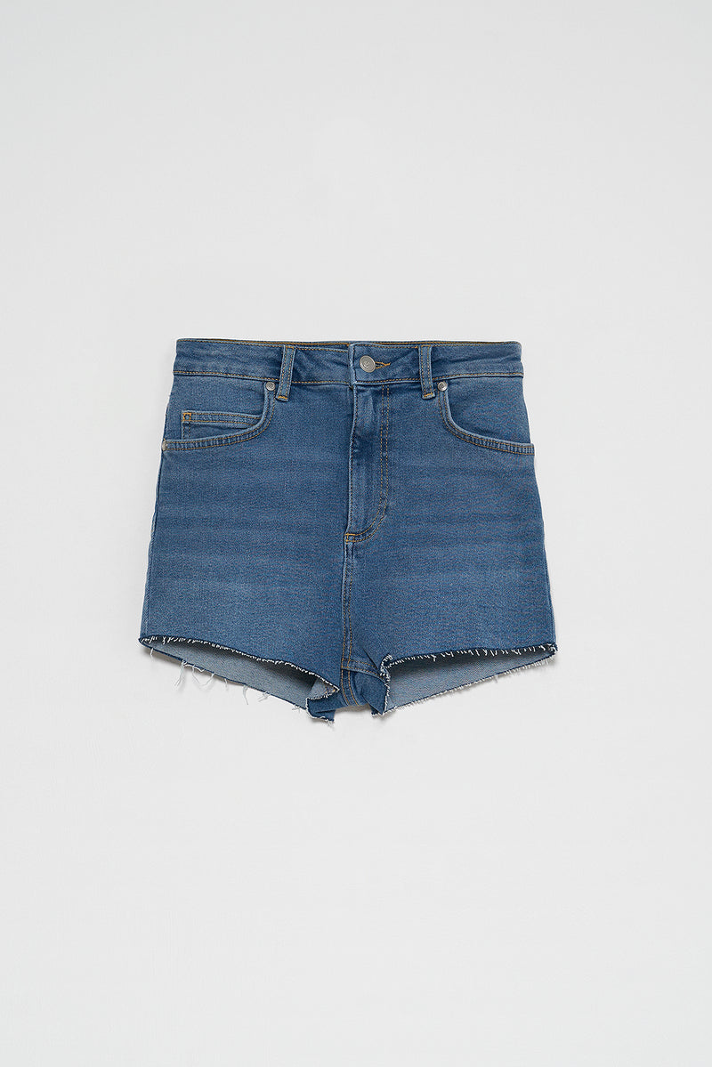 High Rise Raw Hem Denim Shorts