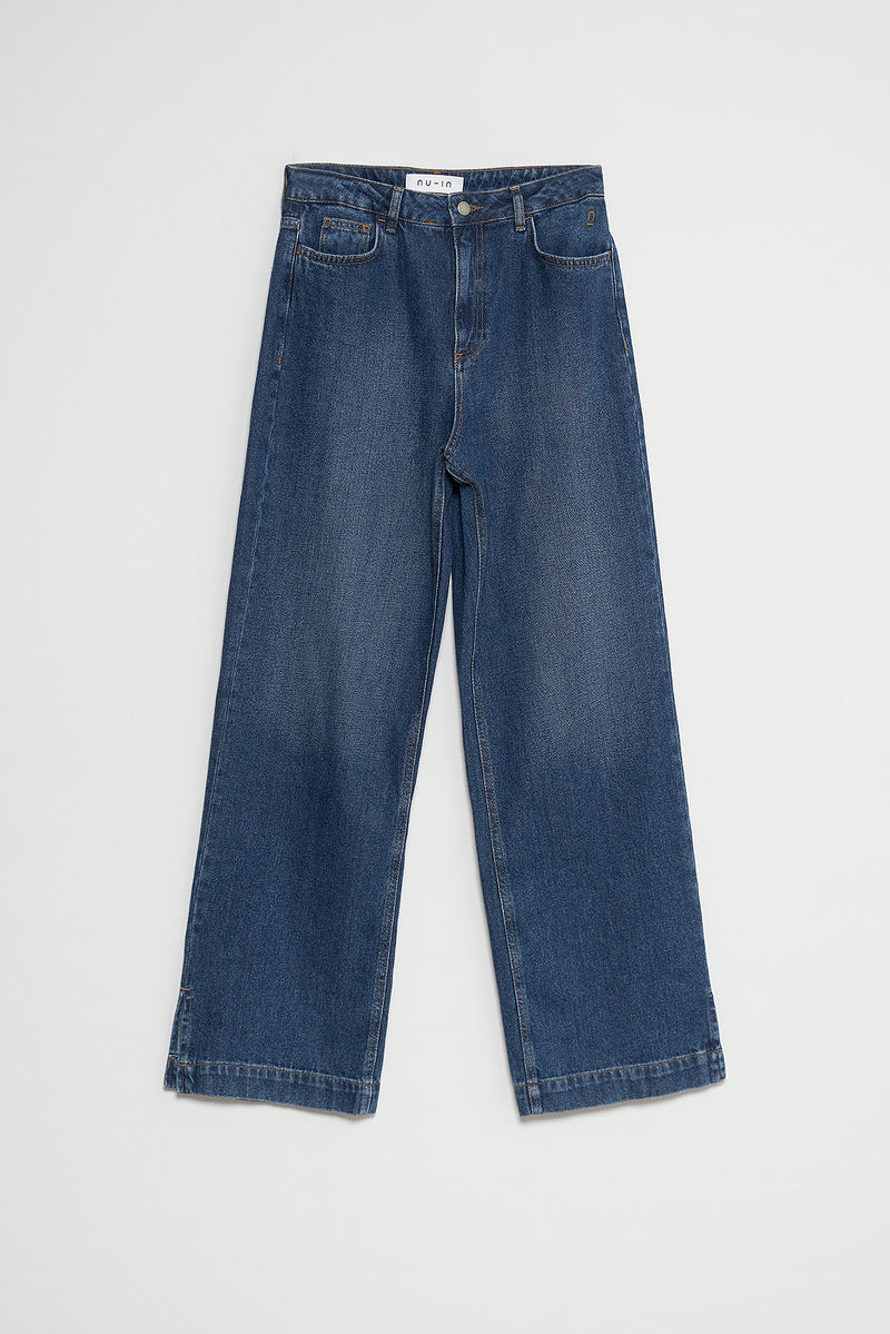 100% Organic High Rise Side Slit Wide Leg Jeans