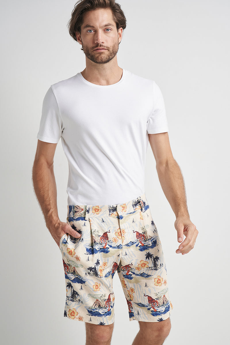 Bobby Pleat Shorts Bali Surf Print