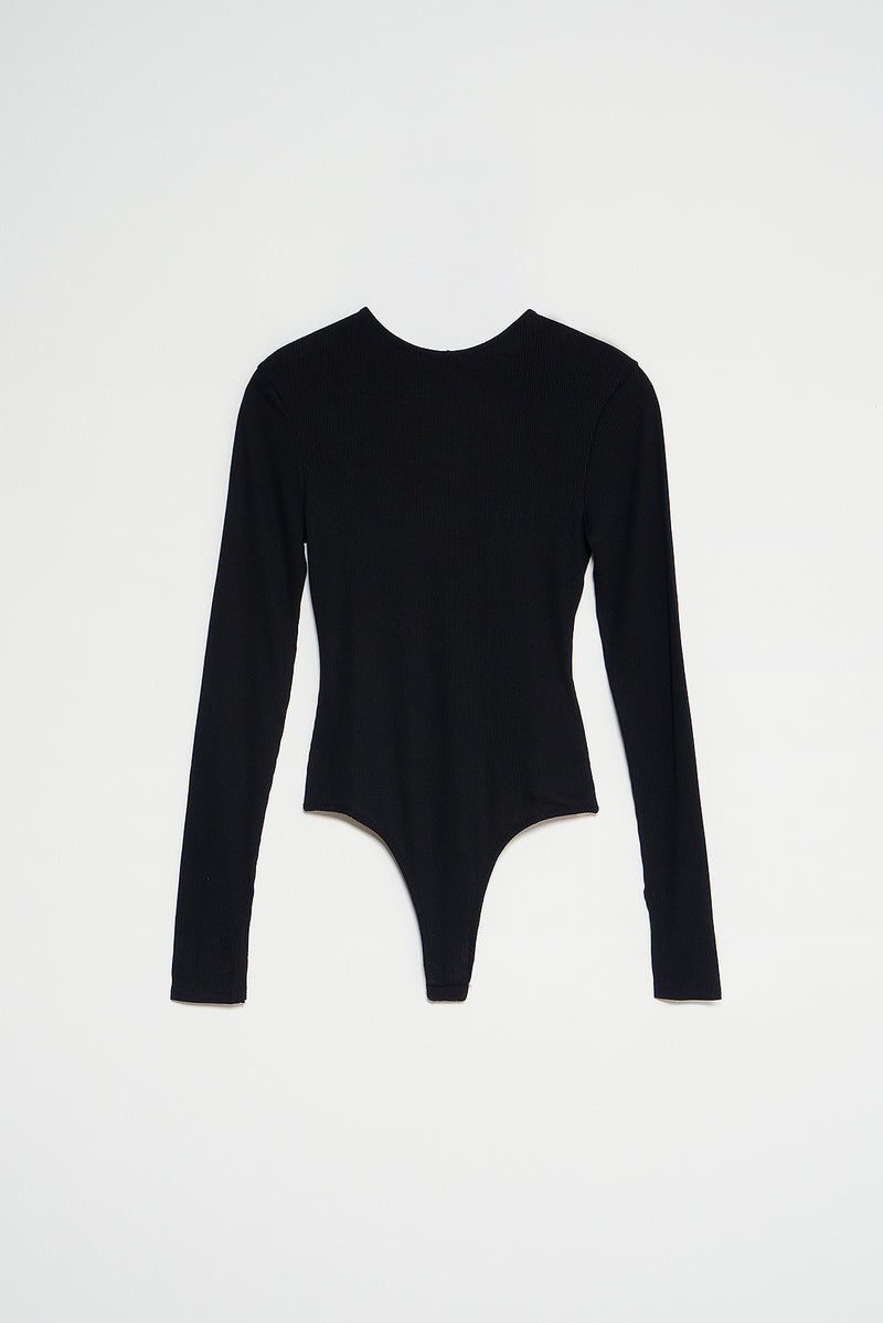 Long Sleeve Open Back Bodysuit
