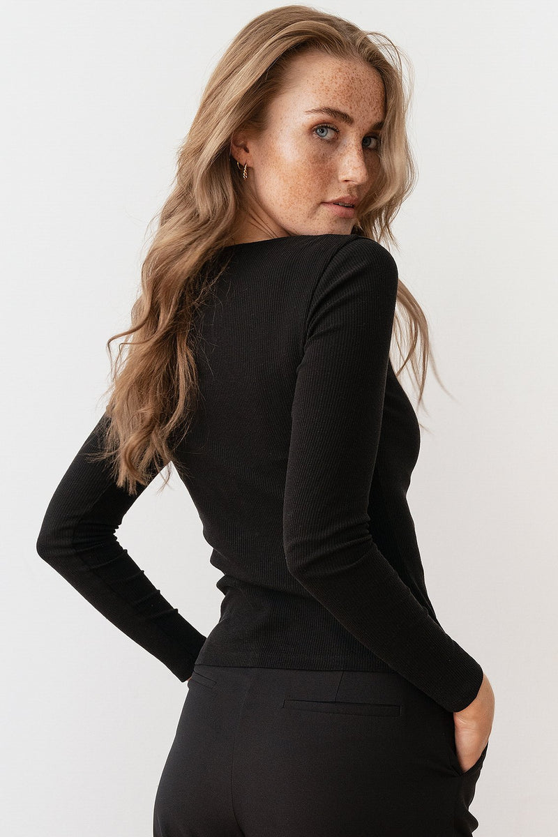 Half Zip Ribbed Long Sleeve Top