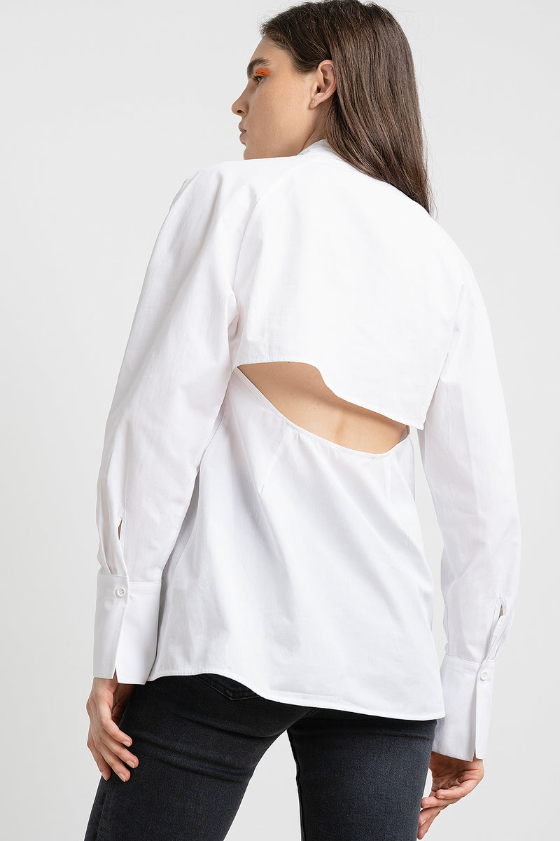 Cut Out Volume Sleeve Shirt