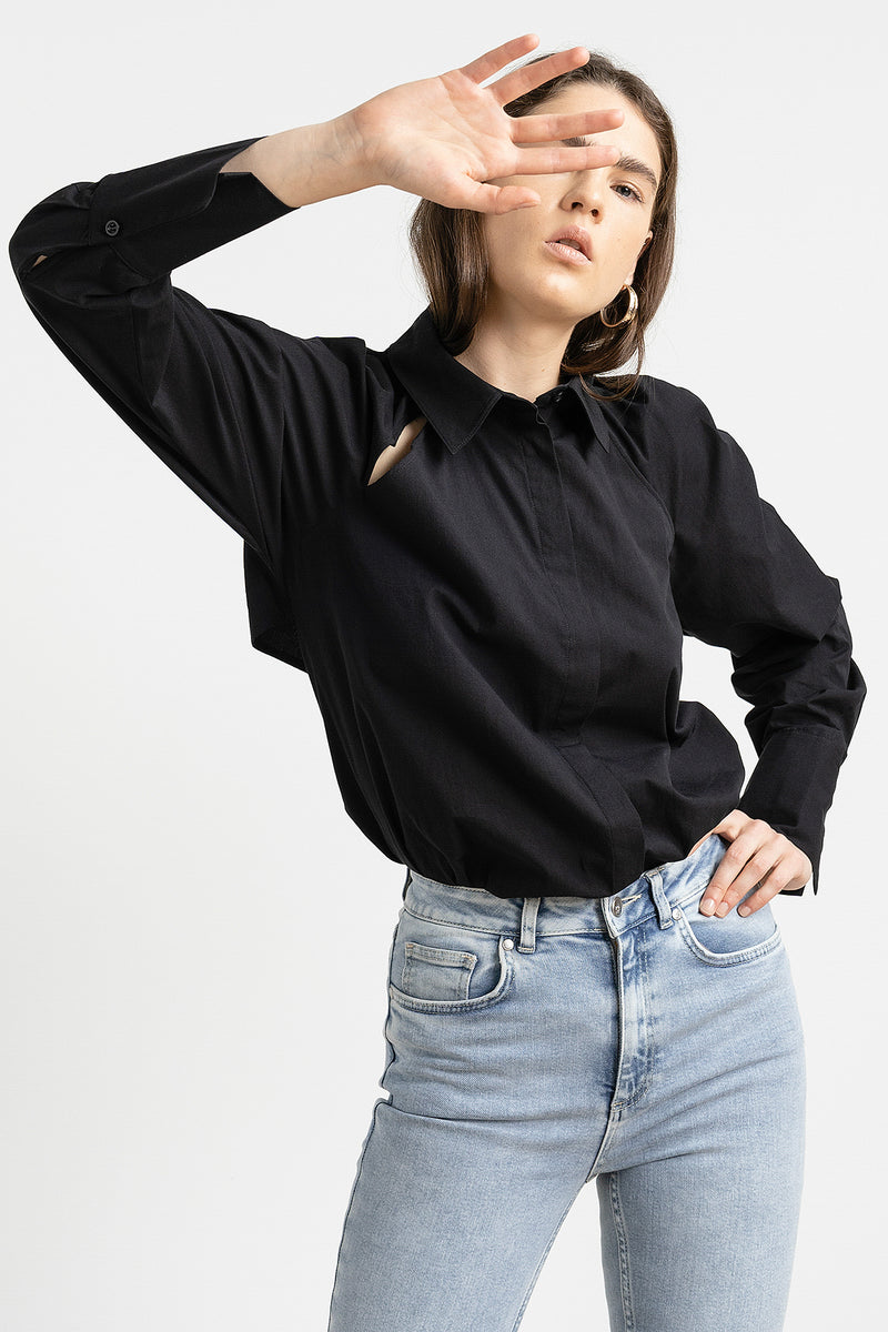 100% Organic Cut Out Volume Sleeve Shirt