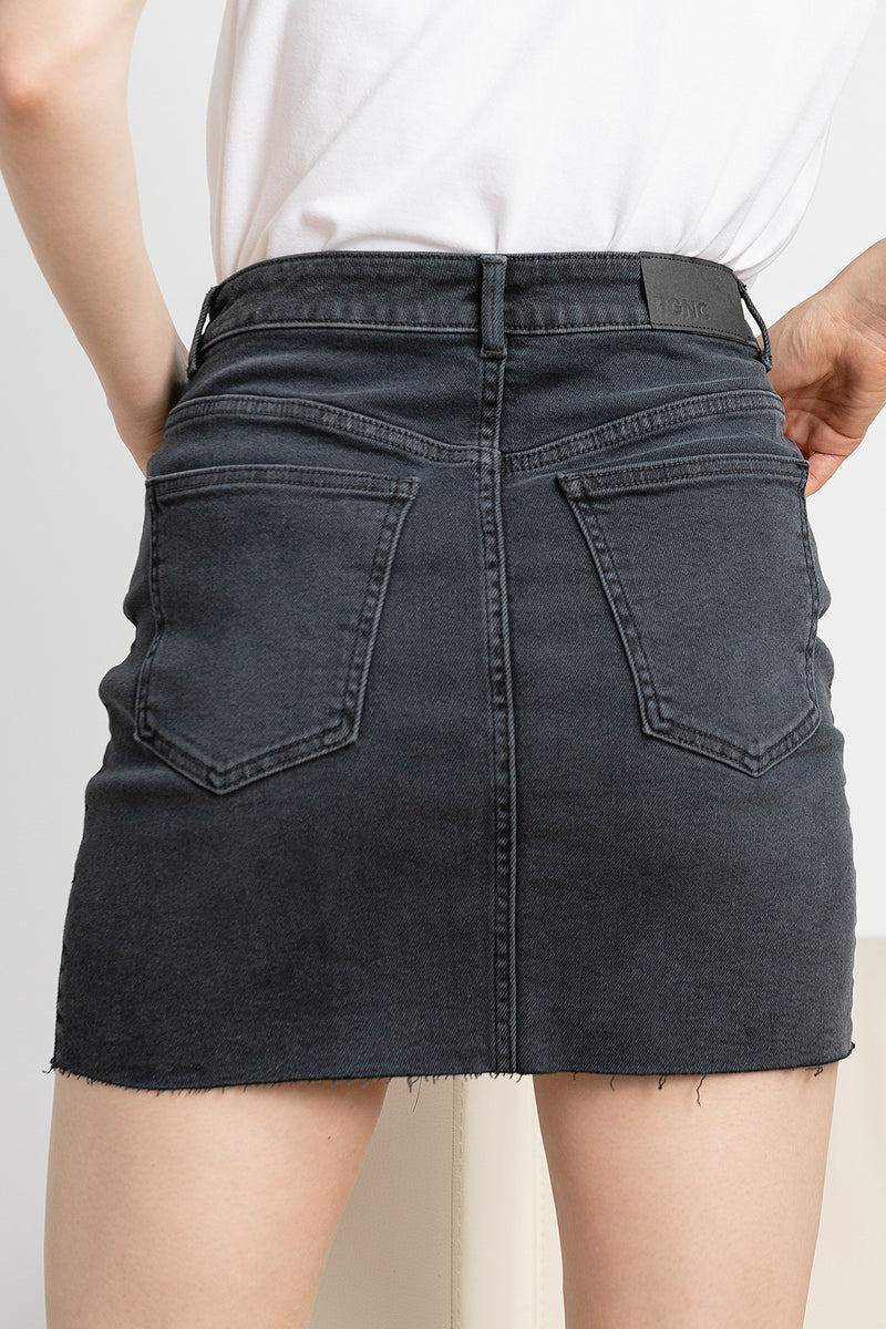 High Rise Raw Hem Denim Skirt