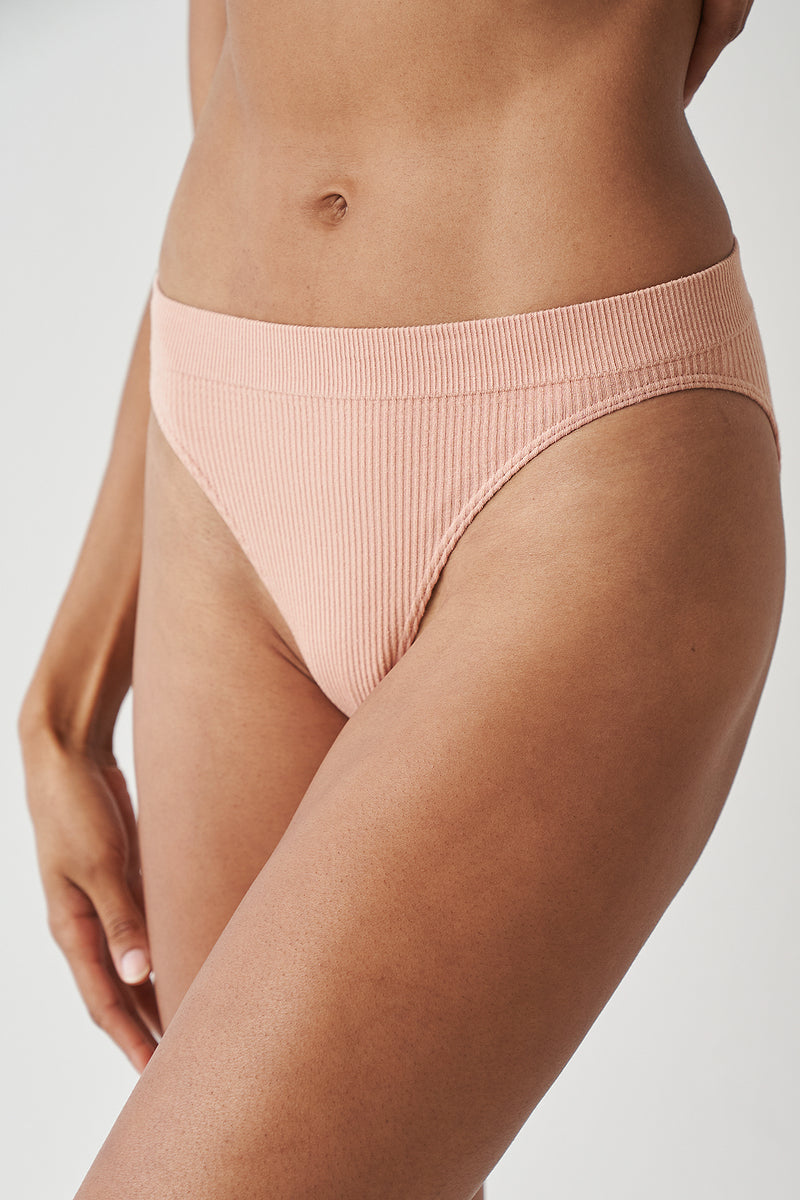 High Cut Seamless Ribbed Briefs