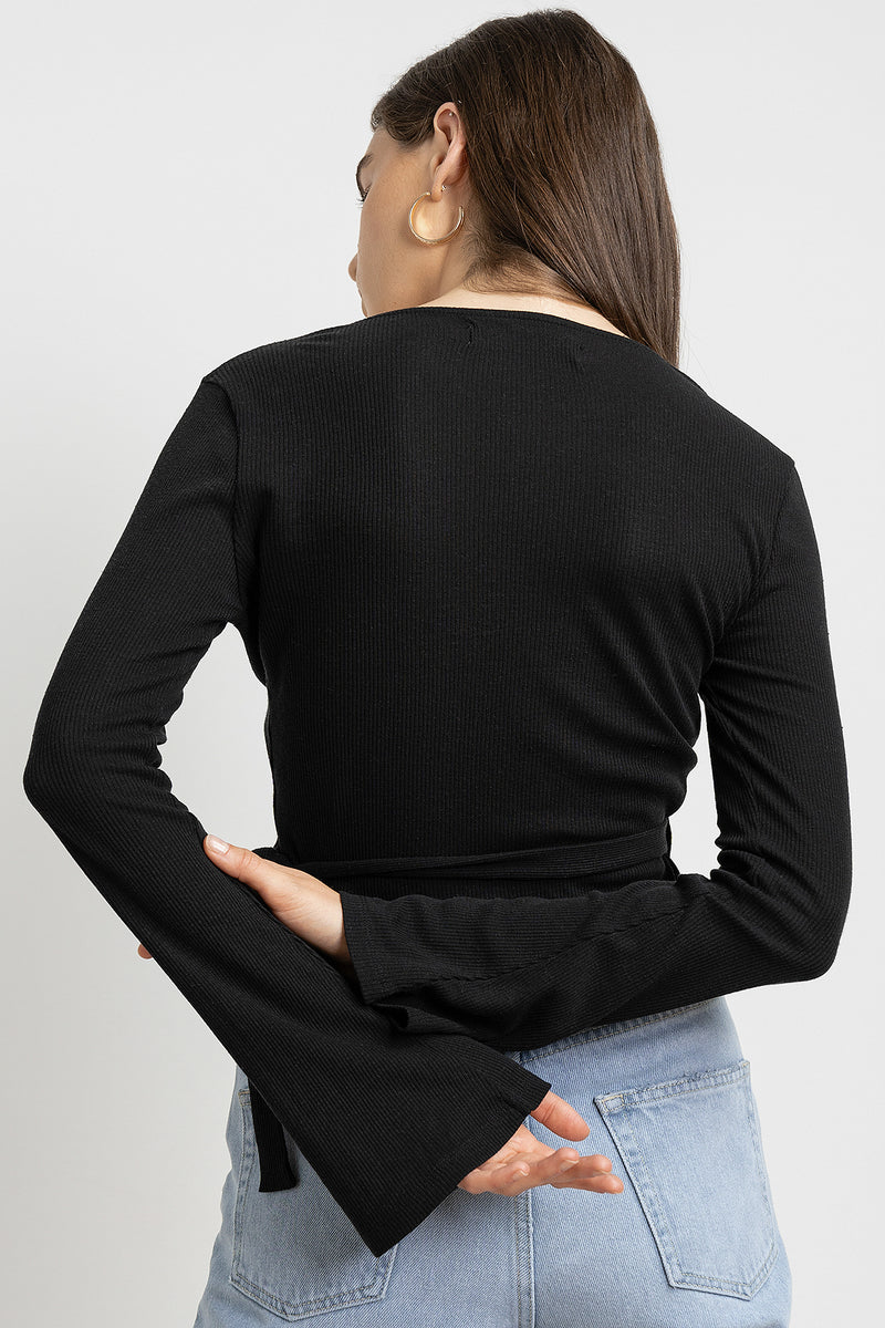 Wrap Front Ribbed Long Sleeve Top