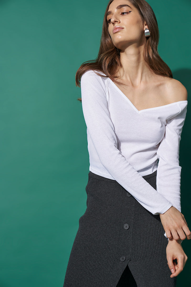 Off Shoulder Heart Neck Rib Top