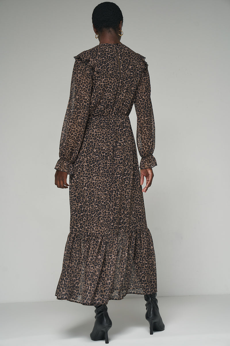 100% Recycled Frill Shoulder Maxi Leopard Print Dress