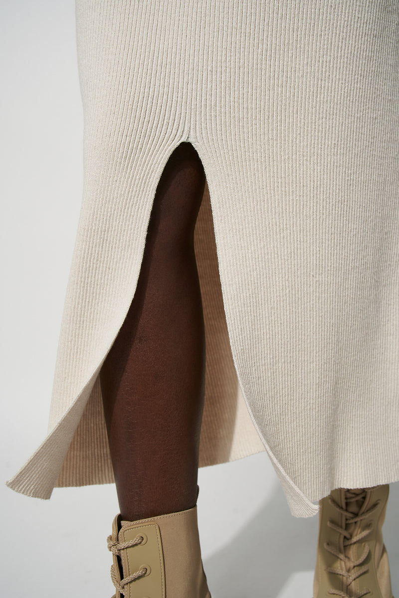 Front Slit Ribbed Knitted Midi Skirt