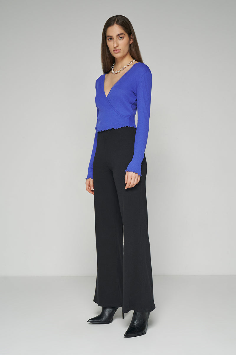 Front Wrap Long Sleeve Rib Top
