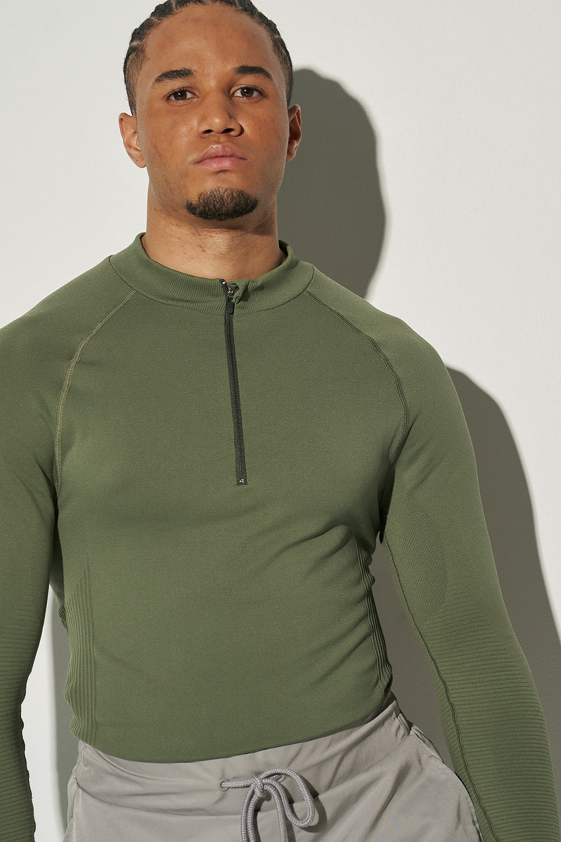 Half Zip Long Sleeve Top