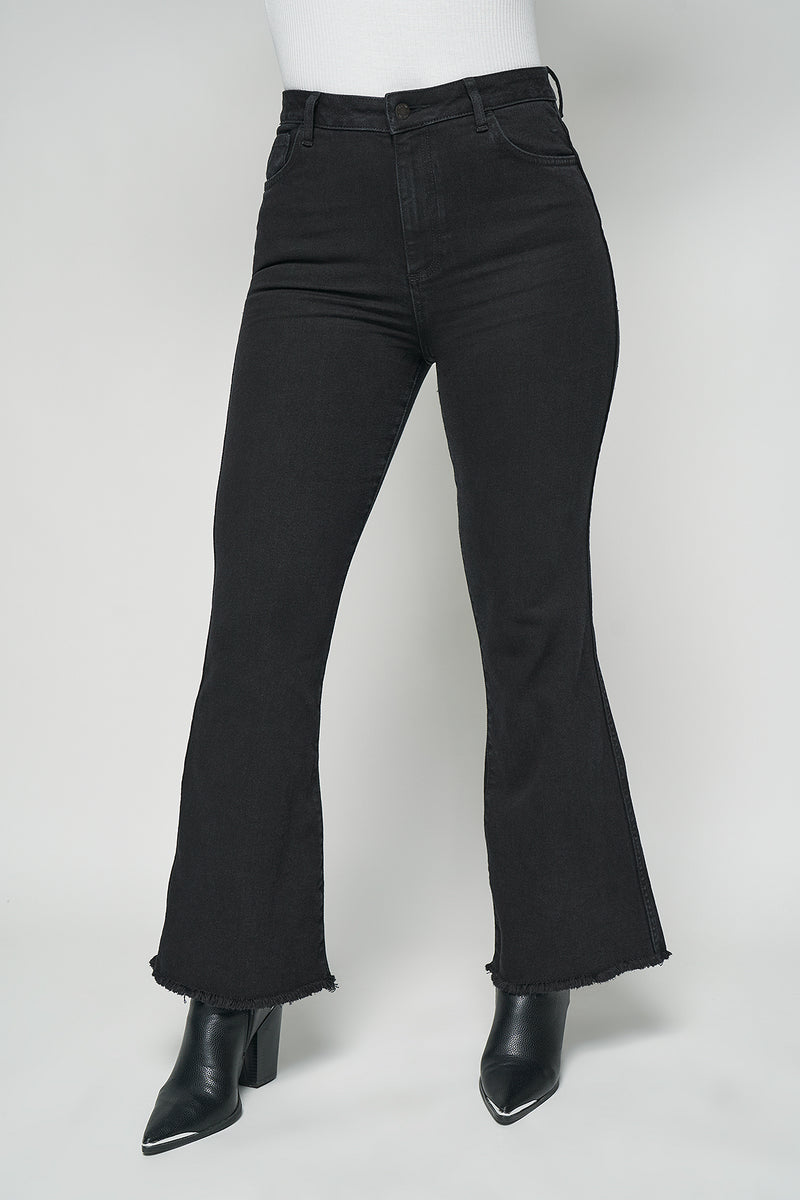 High Rise Cropped Raw Hem Flared Jeans