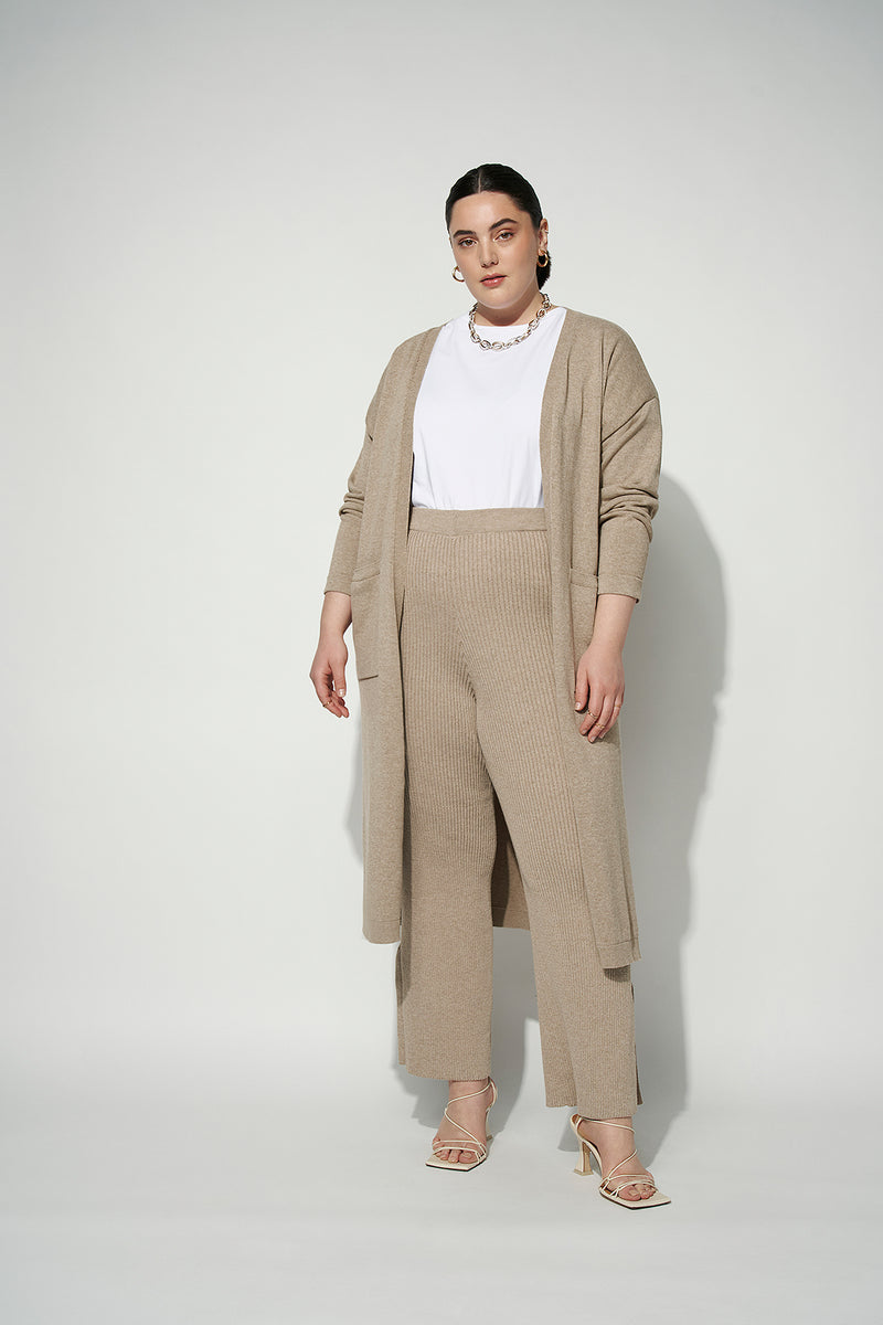 100% Recycled High Waist Wide Leg Ribbed Pants