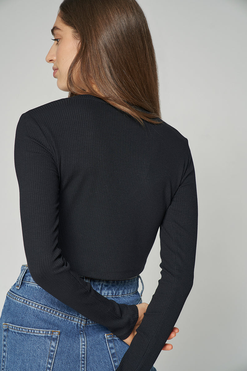 Long sleeve V-neck Ribbed Cropped Top