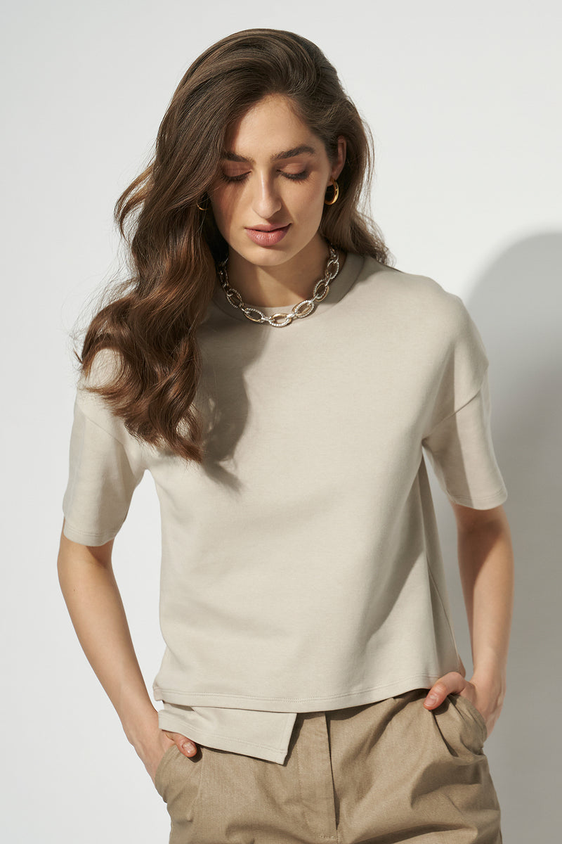 100% Organic Stepped Hem Fitted T-shirt