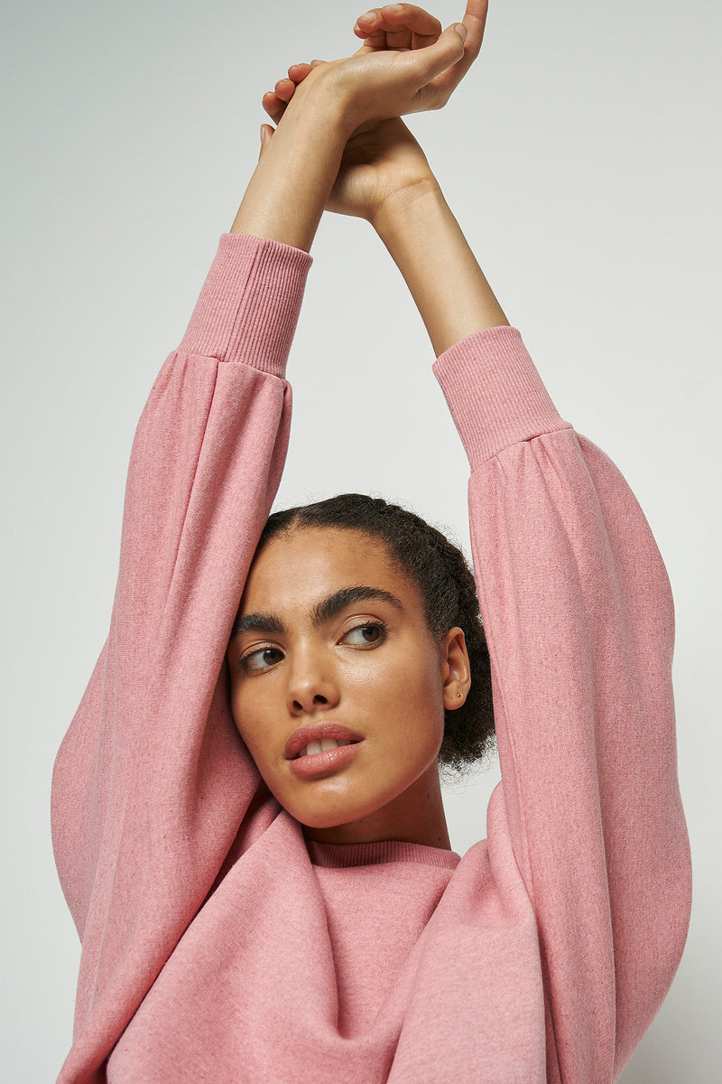 100% Recycled Balloon Sleeve Cropped Sweatshirt
