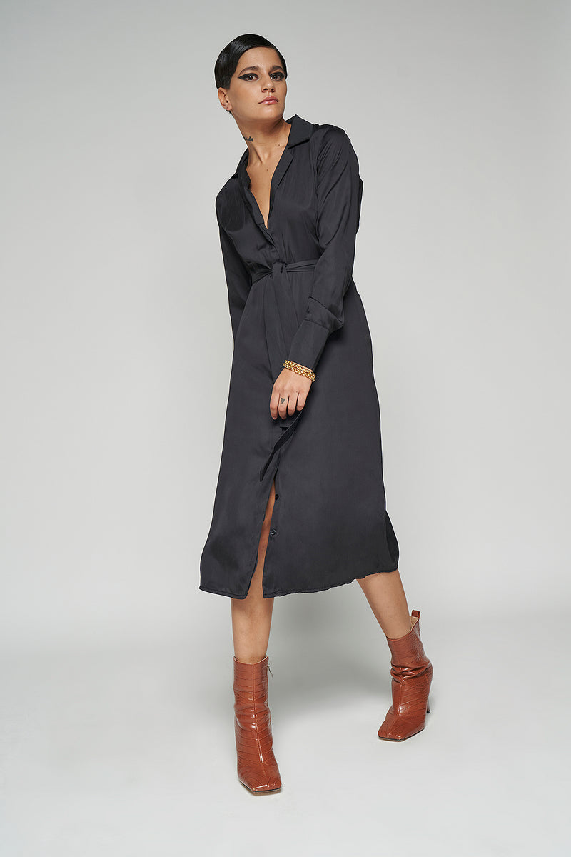 100% Recycled Belted Lapel Collar Shirt Midi Dress