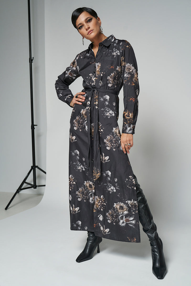 100% Recycled Belted Maxi Shirt Floral Print Dress