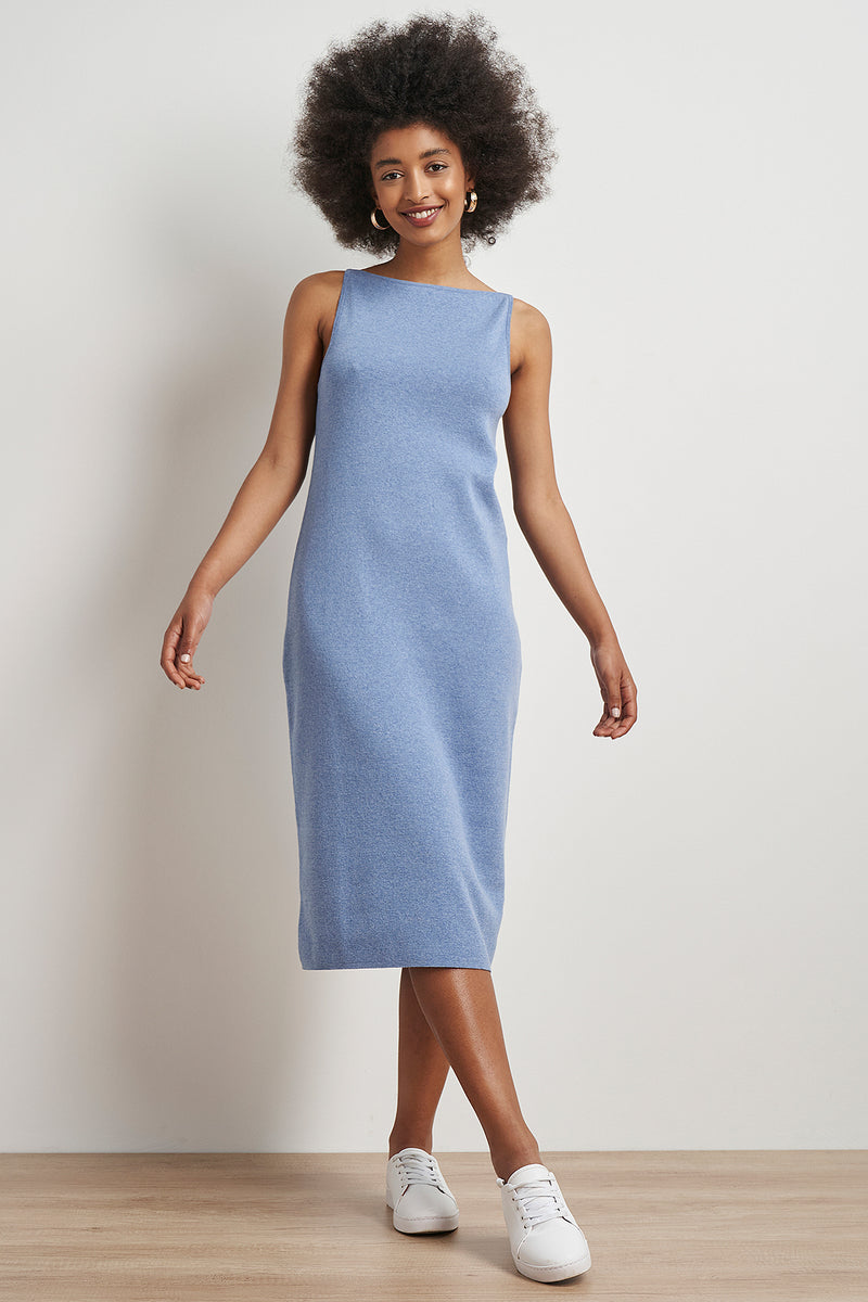 Boat Neck Open Back Midi Dress