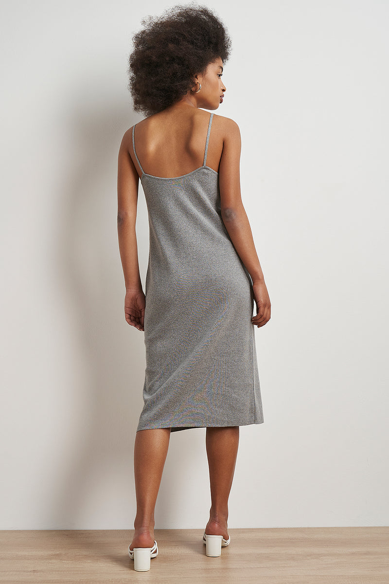 100% Recycled Boat Neck Open Back Midi Dress