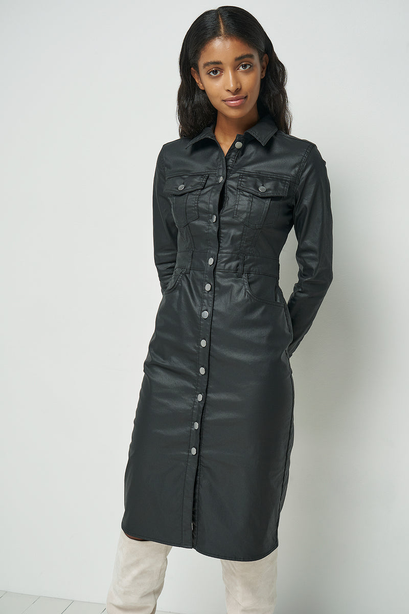 Coated Button Up Midi Dress