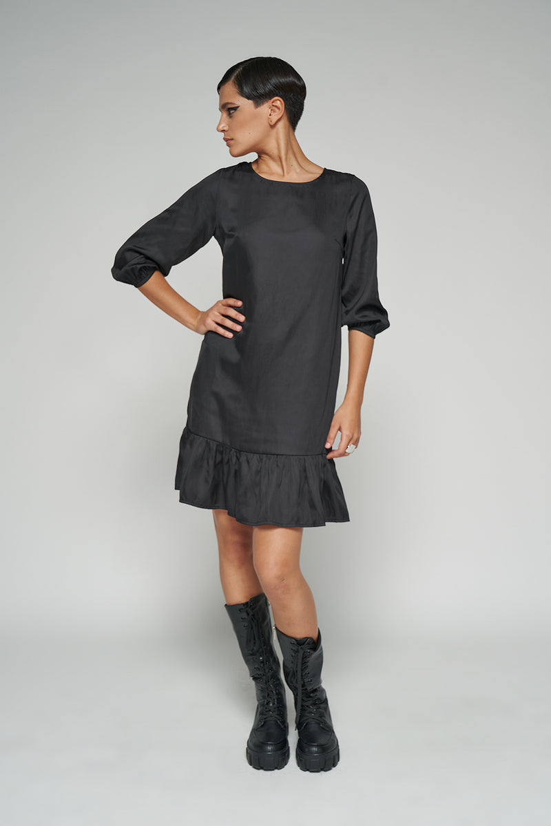 100% Recycled Crew Neck Tiered Mini Dress