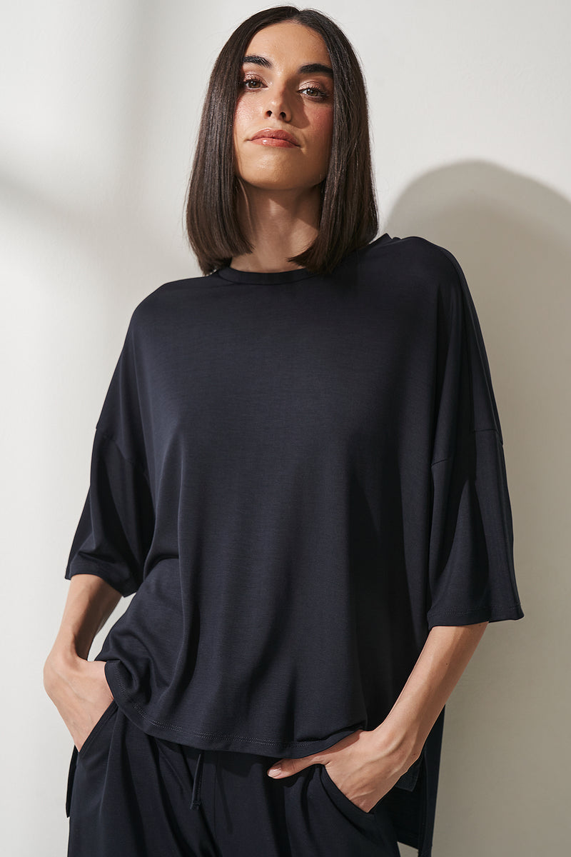 Lyocell Side Slit Oversized T-shirt