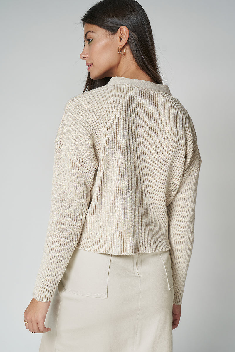 100% Recycled Cropped Ribbed Cardigan